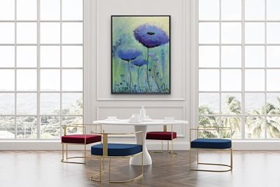 Purple and mauve flowers rise to greet the day! Background in greens, teals, yellow, and iridescents (some metallic gold). Adding beauty to your dining room, living room, or bedroom. Heavily textured black on bottom. Shown above an elegant dining area.