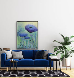 Purple and mauve flowers rise to greet the day! Background in greens, teals, yellow, and iridescents (some metallic gold). Adding beauty to your dining room, living room, or bedroom. Heavily textured black on bottom. Shown above a blue velvet sofa.