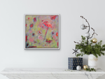 Load image into Gallery viewer, Delightfully fun and abstract, orange fantasy flowers float up. Displayed on a wall above a shelf.