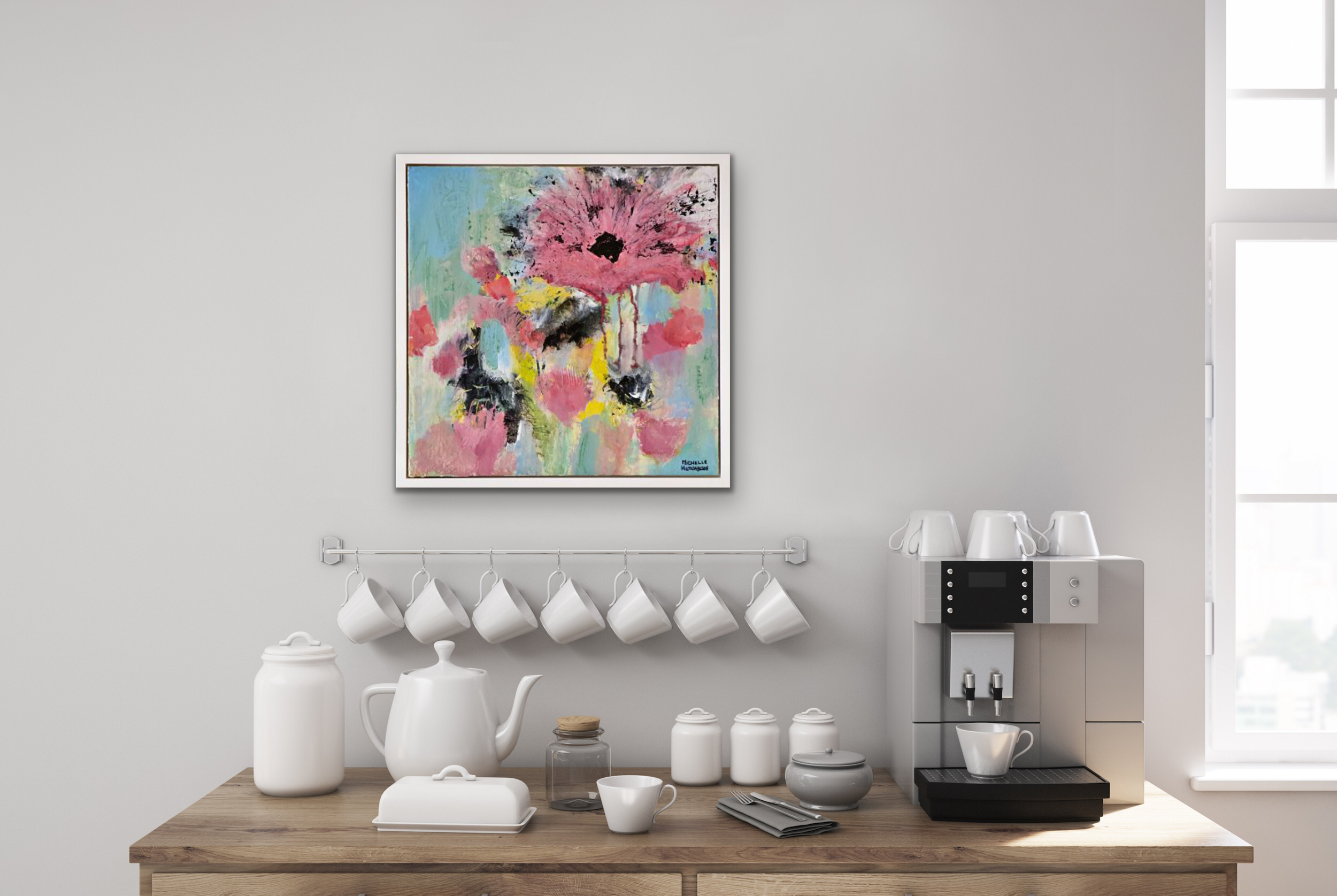 Funky large pink blossom and teal background invites a feeling of joy shared with friends. Displayed above a coffee bar.