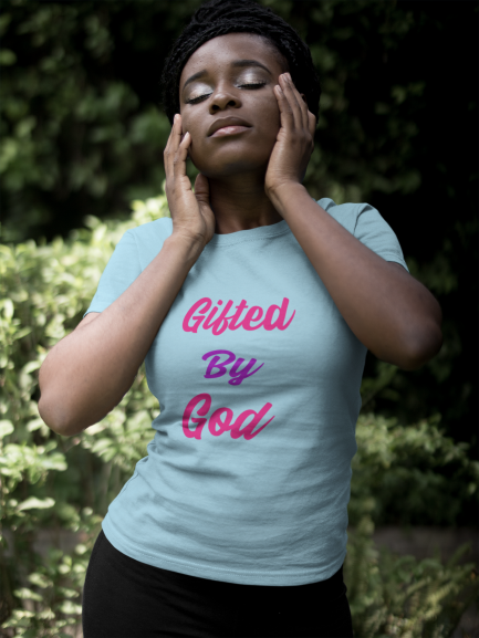 Gifted By God Pink logo Women's The Boyfriend Tee