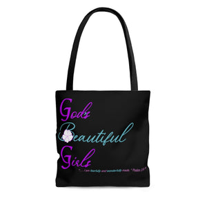 God's Beautiful Girls Turquoise Black AOP Tote Bag