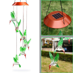 LED Solar Powered Hummingbird Chime