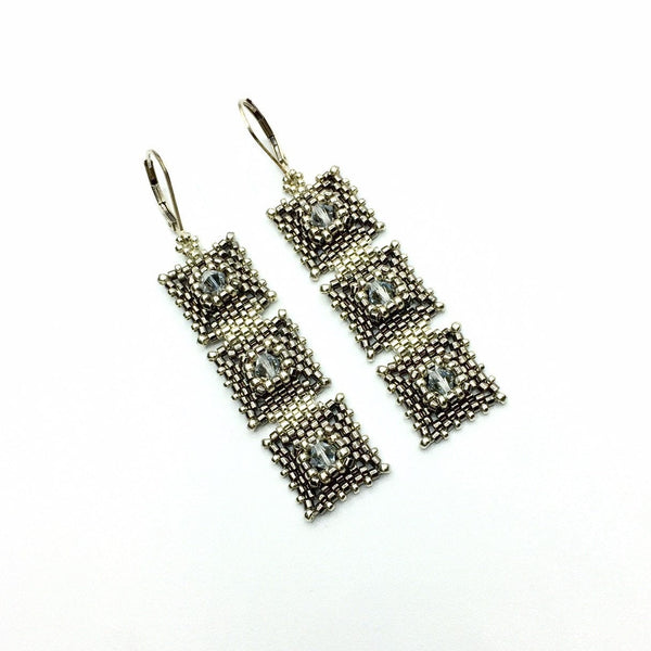 Two-Tone 3 Drop Deco Earrings