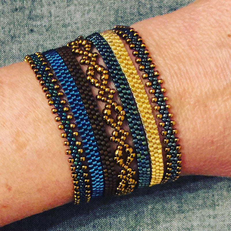 Boho 7pc Stacking Bracelets - Blue & Gold