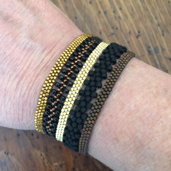 Boho 5pc Stacking Bracelets - Black & Bronze