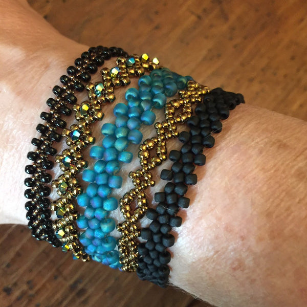 Boho 5pc Stacking Bracelets - Black & Turqoise