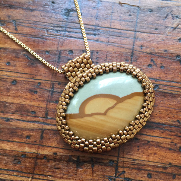 Big Horn Picture Jasper  Pendant Necklace - OOAK