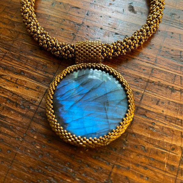 New Round Labradorite Statement Necklace - OOAK