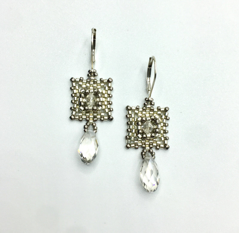 Two-Tone Deco Earrings with Crystal Briolette