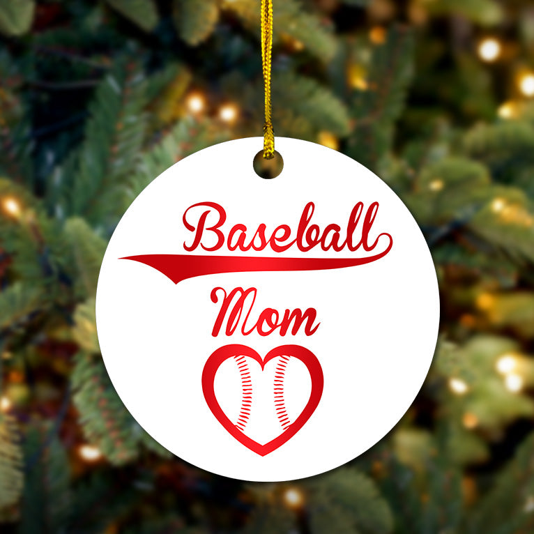 Baseball Mom Wooden Ornament