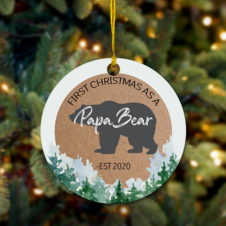First Christmas Papa Bear Wooden Ornament