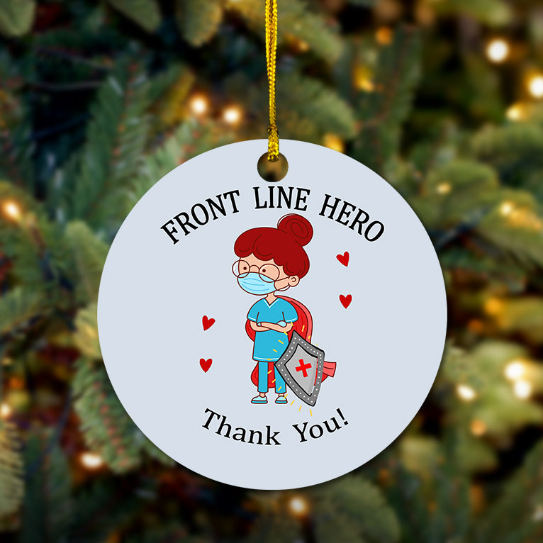 Nurse Front Line Hero Wooden Ornament