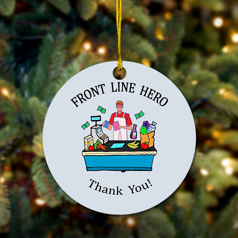 Front Line Hero Cashier Wooden Ornament