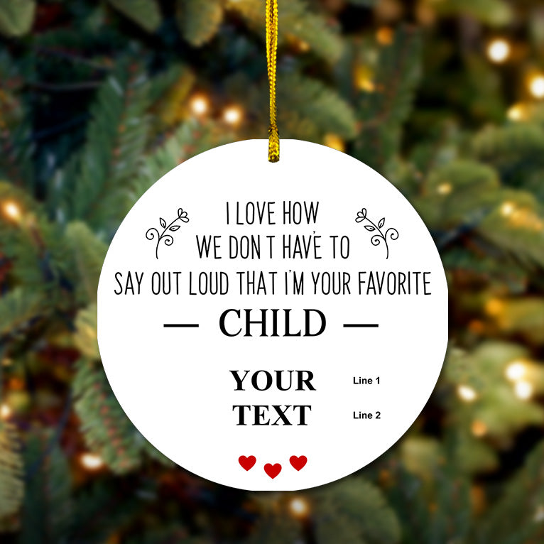 Personalized Favorite Child Wooden Ornament