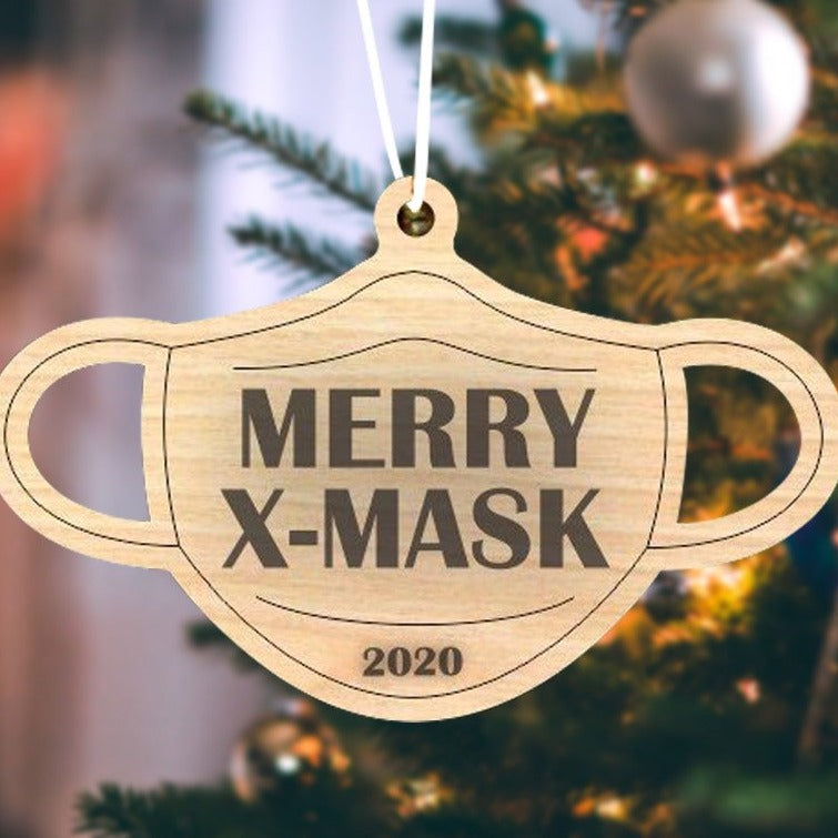 Merry X-Mask Wooden Ornament