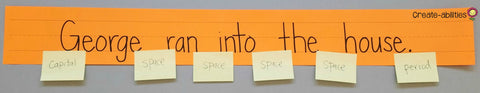 Sentence strip spaces with post its