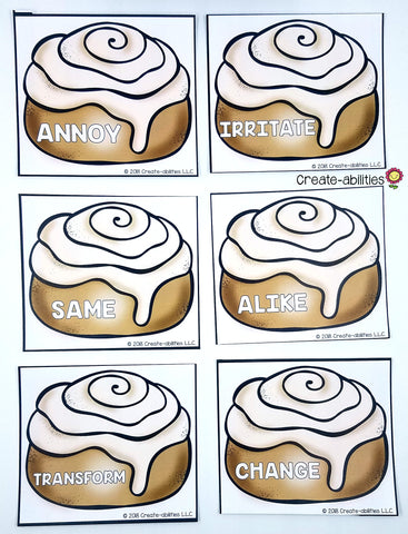 Synonym Grouping Cards Cinnamon Rolls