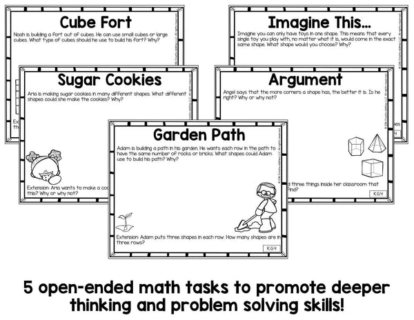Comparing 2D and 3D Shapes Math Tasks and Exit Tickets