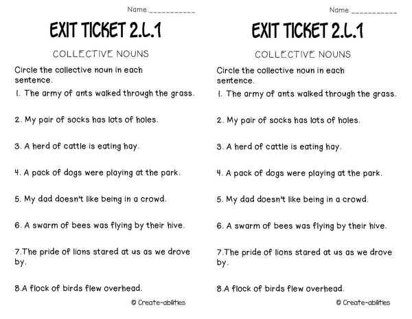 Grammar and Parts of Speech Exit Tickets 2nd Grade