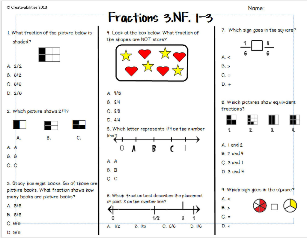 Fractions Test 3rd Grade – Create-abilities
