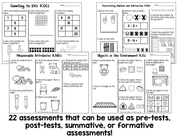 Math Tests Kindergarten