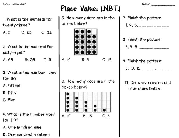 Math Tests 1st Grade