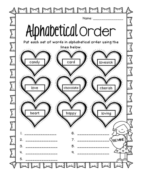 Valentine's Day Reading Writing and Math Activities