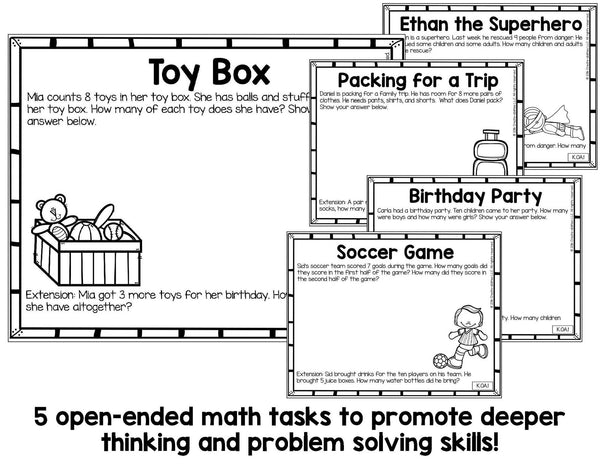 Addition and Subtraction Math Tasks and Exit Tickets for Kindergarten
