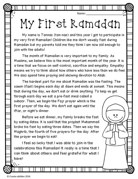 Ramadan Reading and Writing Activities