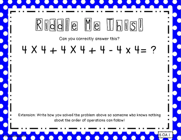 Order of Operations Math Tasks and Exit Tickets