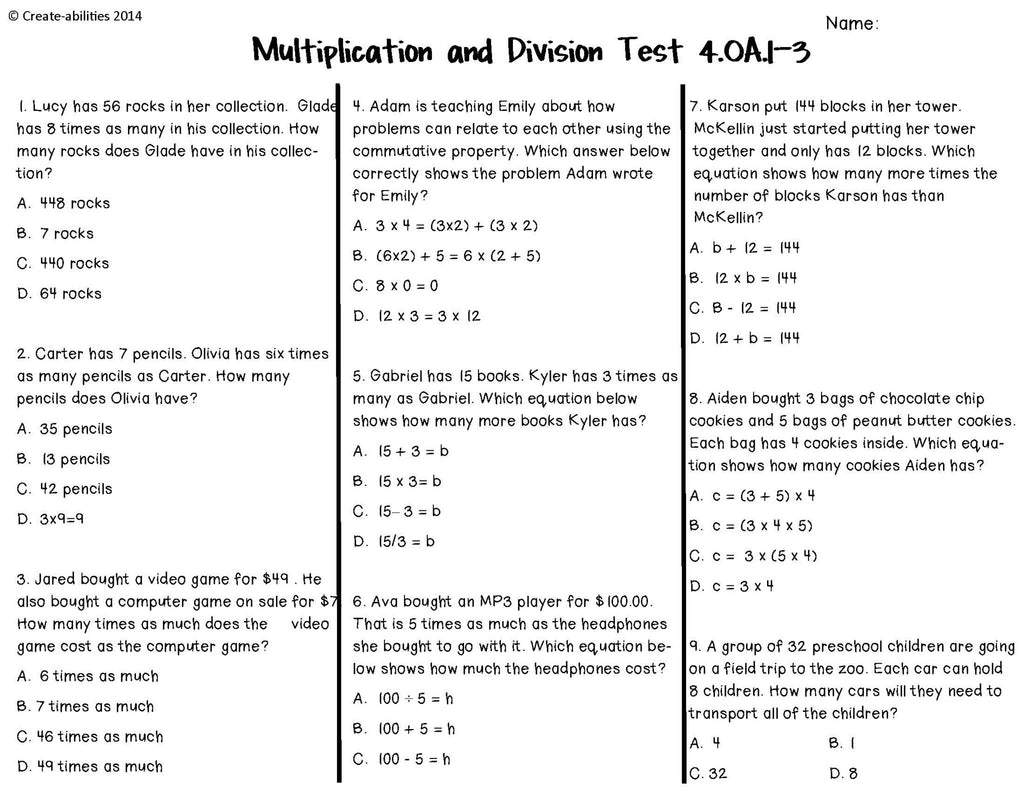 worksheet Division Test multiplication and division tests 4th grade create abilities grade