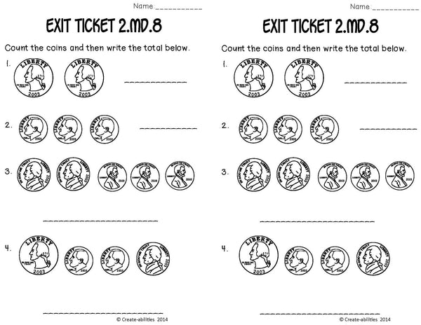 Money Math Tasks and Exit Tickets