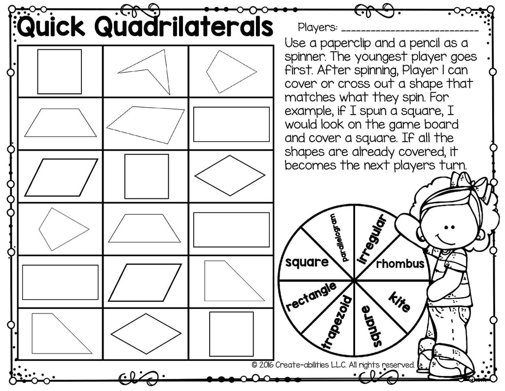 Classifying quadrilaterals printables and games create abilities classifying quadrilaterals printables and games pooptronica