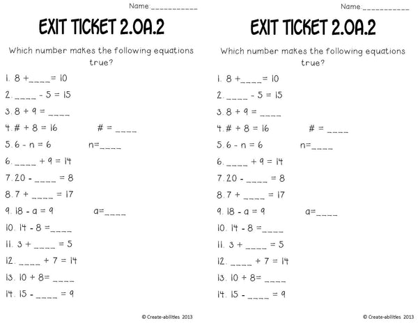 Add and Subtract Within 20 Math Tasks and Exit Tickets