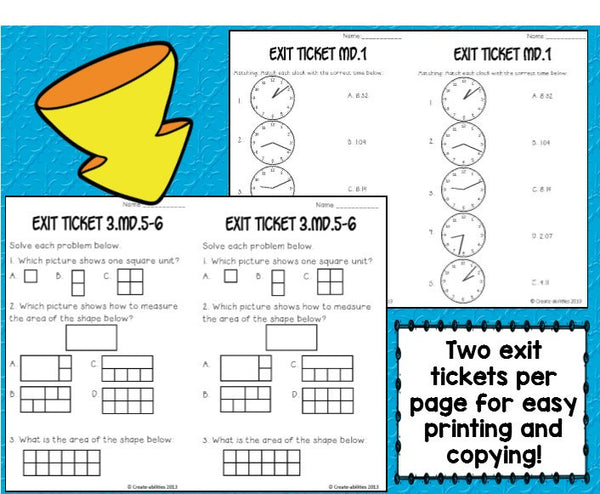 Exit Ticket Bundle 3rd Grade