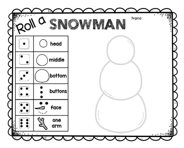 Roll A Snowman Dice Game
