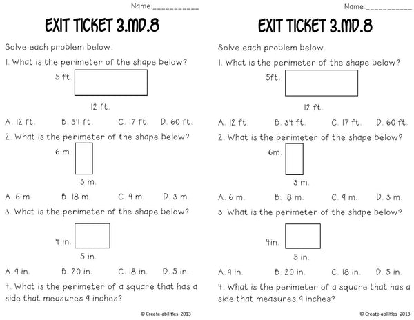 Perimeter Math Tasks and Exit Tickets
