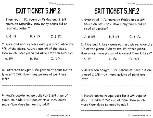 Add and Subtract Fractions Math Tasks and Exit Tickets