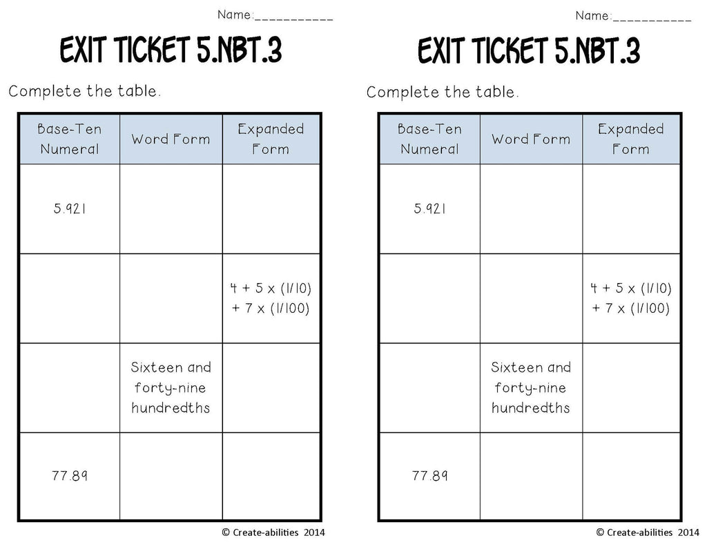 decimals math tasks and exit tickets create abilities decimals math tasks and exit tickets