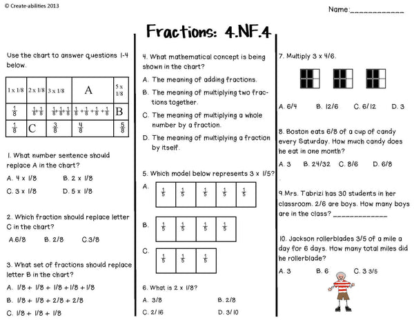 Fractions Tests 4th Grade