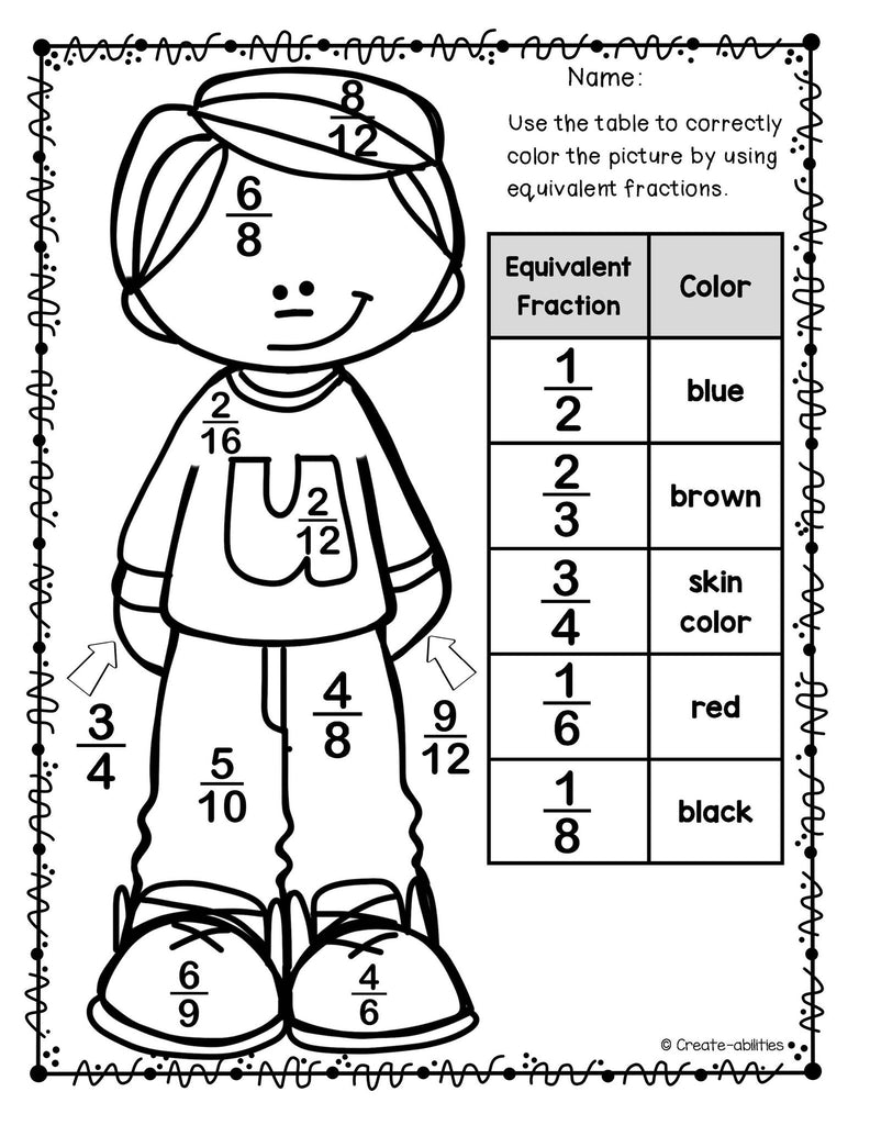 Multiplying Fractions Sheet Coloring Pages