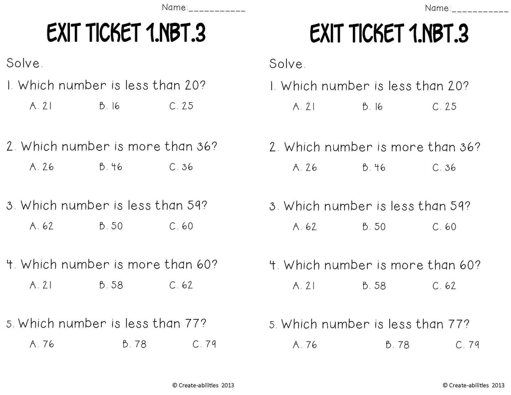 worksheet Greater Or Less Than greater than less math tasks and exit tickets 1st grade grade