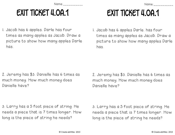 Multiplication as Comparison Math Tasks and Exit Tickets