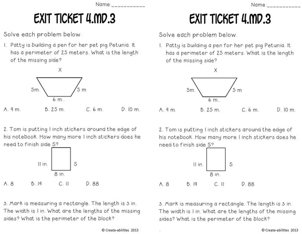Area and Perimeter Math Tasks and Exit Tickets