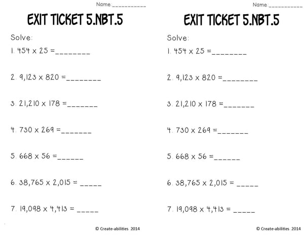 Multiplication Math Tasks and Exit Tickets