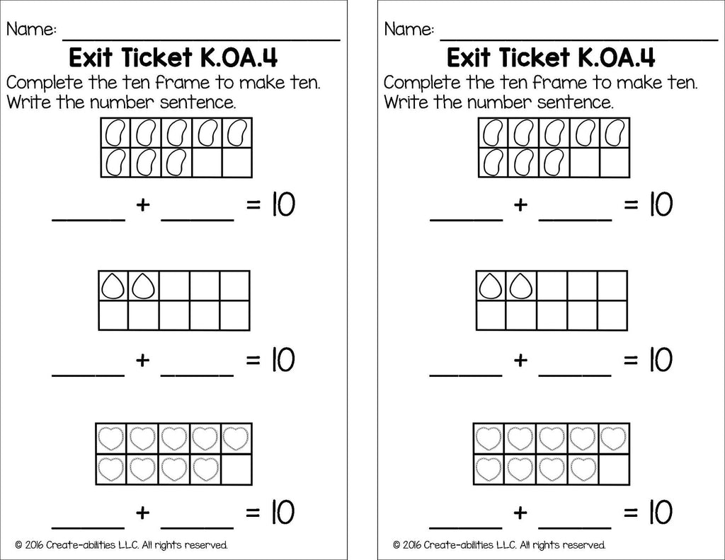 Making Ten Math Tasks and Exit Tickets – Create-abilities