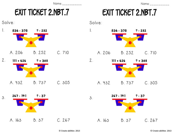 Add and Subtract Within 1,000 Math Tasks and Exit Tickets