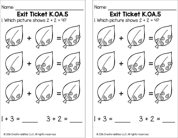 Addition and Subtraction Within 5 Math Tasks and Exit Tickets