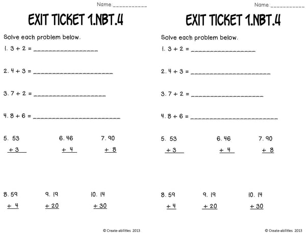 Adding Within 100 Math Tasks and Exit Tickets